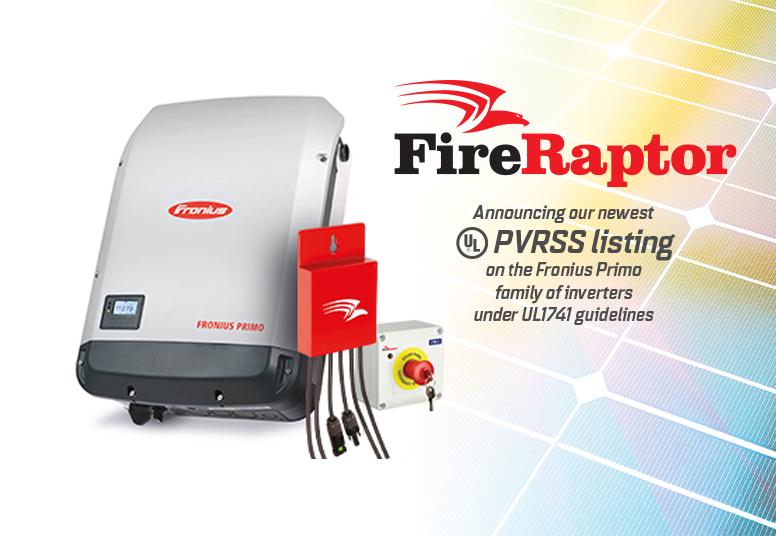 IMO FireRaptor UL PVRSS Listing